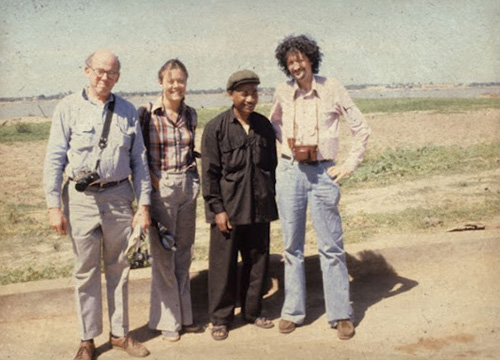 from left to right: Rechard Dudman, Elizabeth Becker, Comrade Pin and Malcolm Caldwell