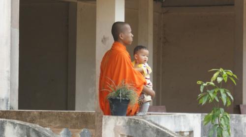 monk with children